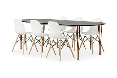 GEORGE Pöytä Musta/Kupari + 6 RANA tuolia Valkoinen/tammi