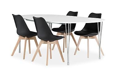 Pöytä Sterling 160 Valk + 4 Peace tuolia Musta/tammi