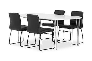 Pöytä Sterling 160 Valk + 4 Frio tuolia Musta