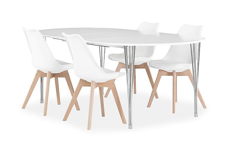 Pöytä Sterling 160 Valk + 4 Peace tuolia Valkoinen/tammi - Huonekalut - Ruokailuryhmät - Ovaali ruokailuryhmä