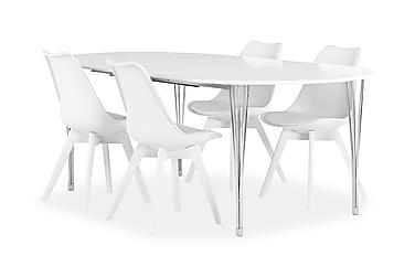 Pöytä Sterling 160 Valk + 4 Peace tuolia Valkoinen/Valk
