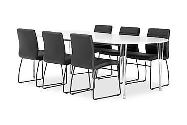 Pöytä Sterling 160 Valk + 6 Frio tuolia Musta