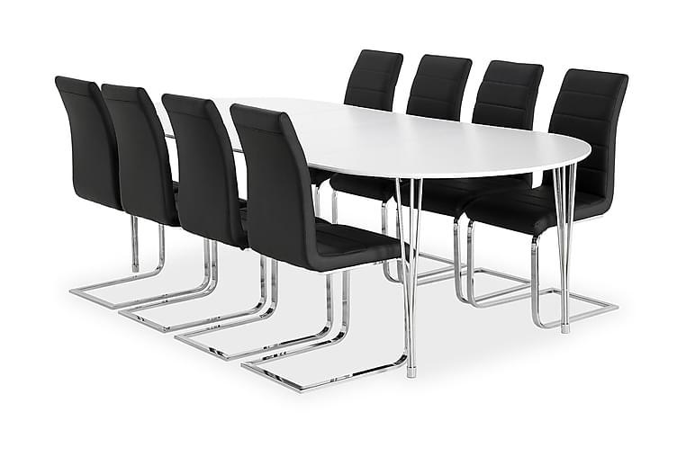 Pöytä Sterling 160 Valk + 8 Emån tuolia Musta - Huonekalut - Ruokailuryhmät - Ovaali ruokailuryhmä