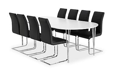 Pöytä Sterling 160 Valk + 8 Emån tuolia Musta