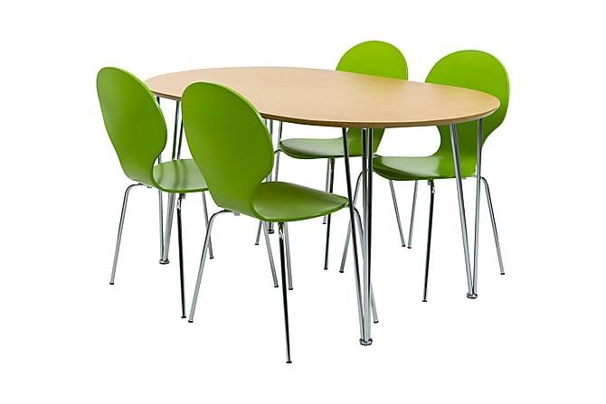 Ruokailuryhmä Ginny Ovaali 4 Elisha tuolilla - Puu/Lime - Huonekalut - Ruokailuryhmät - Ovaali ruokailuryhmä