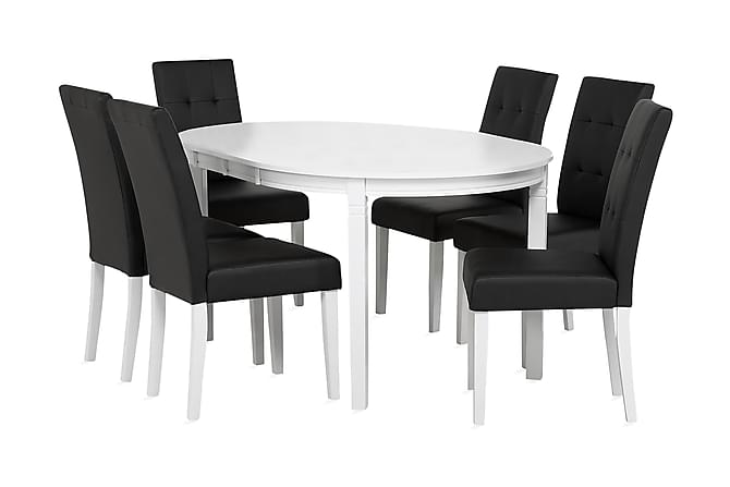 Ruokailuryhmä Läckö 6 Viktor tuolilla - Valkoinen - Huonekalut - Ruokailuryhmät - Ovaali ruokailuryhmä