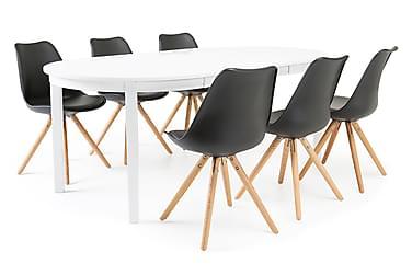 Ruokailuryhmä Lowisa 6 Anton tuolilla Valkoinen/musta/tammi