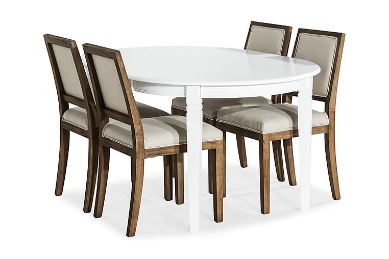 Ruokailuryhmä Lowisa Jatkettava + 4 Frendy tuolia - Valkoinen/Beige - Huonekalut - Ruokailuryhmät - Ovaali ruokailuryhmä