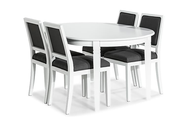 Ruokailuryhmä Lowisa Jatkettava + 4 Frendy tuolia - Valkoinen/Harmaa - Huonekalut - Ruokailuryhmät - Ovaali ruokailuryhmä