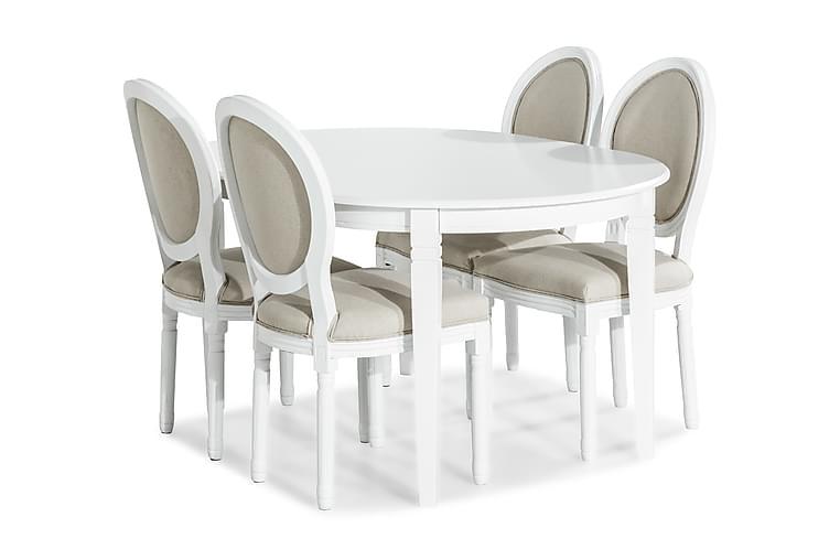 Ruokailuryhmä Lowisa Jatkettava + 4 Wisle tuolia - Valkoinen/Beige - Huonekalut - Ruokailuryhmät - Ovaali ruokailuryhmä