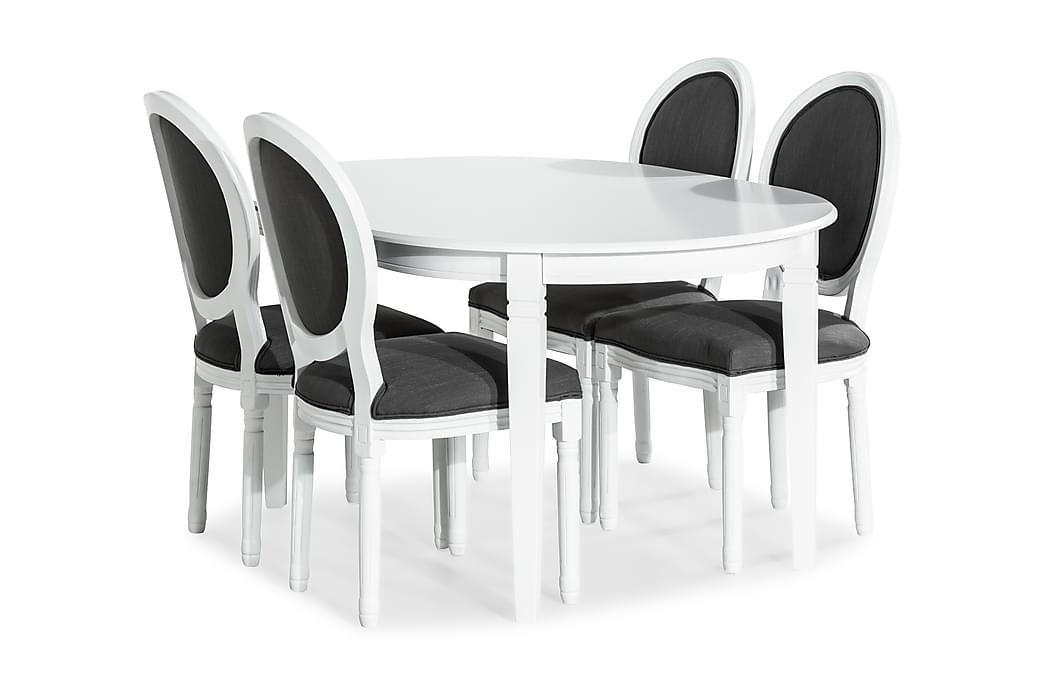 Ruokailuryhmä Lowisa Jatkettava + 4 Wisle tuolia - Valkoinen/Harmaa - Huonekalut - Ruokailuryhmät - Ovaali ruokailuryhmä