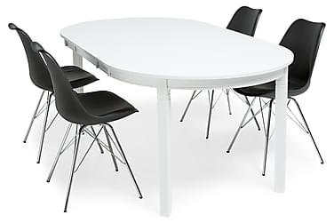 Ruokailuryhmä Lowisa Valkoinen 4 Shell tuolilla Musta/Kromi