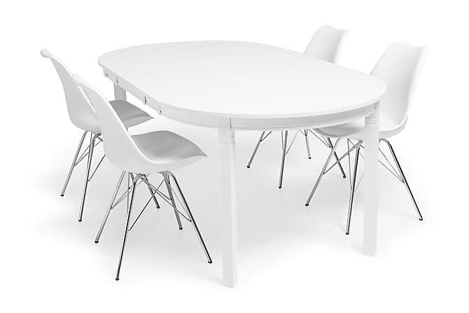 Ruokailuryhmä Lowisa Valkoinen 4 Shell tuolilla Valkoinen/Kr - Huonekalut - Ruokailuryhmät - Ovaali ruokailuryhmä