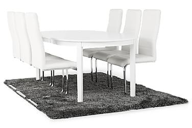 Ruokailuryhmä Lowisa Valkoinen 6 Jack tuolilla Valkoinen PU/
