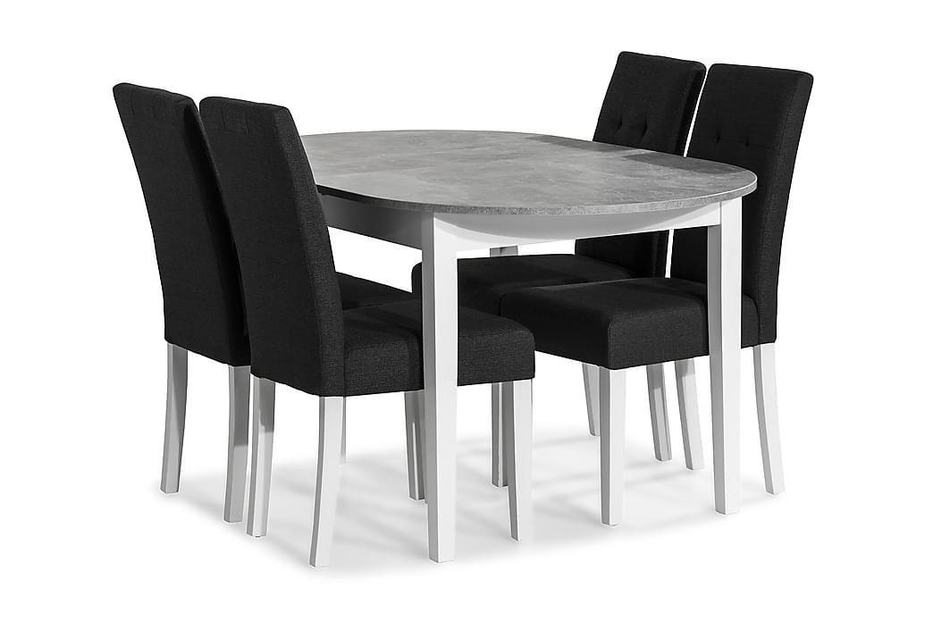Ruokailuryhmä Montague 150 cm 4 Leo tuolia - Betoni/Valkoinen/Tummanharmaa - Huonekalut - Ruokailuryhmät - Ovaali ruokailuryhmä