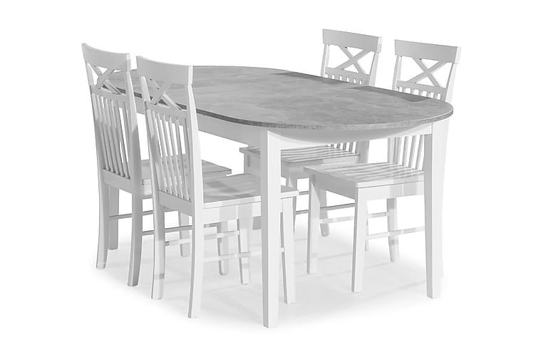 Ruokailuryhmä Montague Jatkettava 150 cm 4 Matilda tuolilla - Betoni/Valkoinen - Huonekalut - Ruokailuryhmät - Ovaali ruokailuryhmä