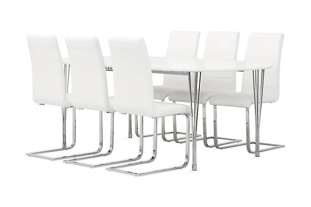 Ruokailuryhmä Sterling 160 cm Ovaali 6 Abuzzo tuolilla - Valkoinen - Huonekalut - Ruokailuryhmät - Ovaali ruokailuryhmä