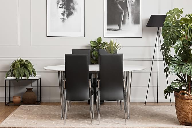 Ruokailuryhmä Sterling 180 Valkoinen/musta - 4 Henkel tuolia - Huonekalut - Ruokailuryhmät - Ovaali ruokailuryhmä