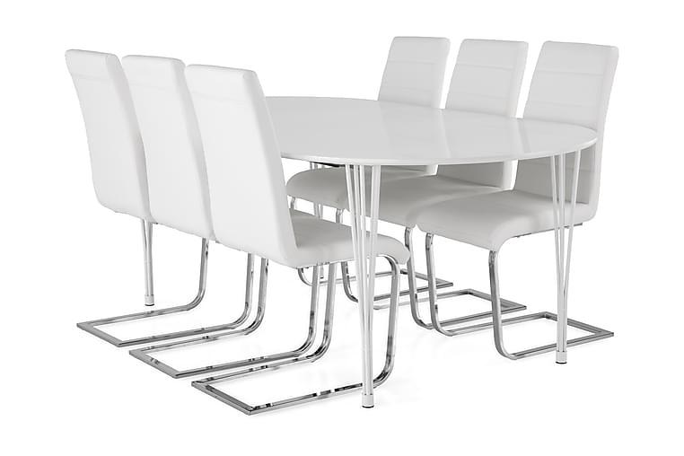 Ruokailuryhmä Sterling Jatkett 160 cm Pyöreä 6 Jack tuolia - Valkoinen - Huonekalut - Ruokailuryhmät - Ovaali ruokailuryhmä