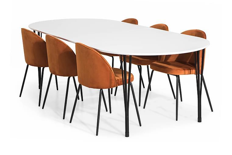 Ruokailuryhmä Sterling Jatkettava 160 6 Tuolilla Gerardo - Valkoinen/Oranssi/Mustat Jalat - Huonekalut - Ruokailuryhmät - Ovaali ruokailuryhmä