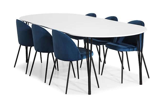 Ruokailuryhmä Sterling Jatkettava 160 6 Tuolilla Gerardo - Valkoinen/T.Sininen/Mustat Jalat - Huonekalut - Ruokailuryhmät - Ovaali ruokailuryhmä