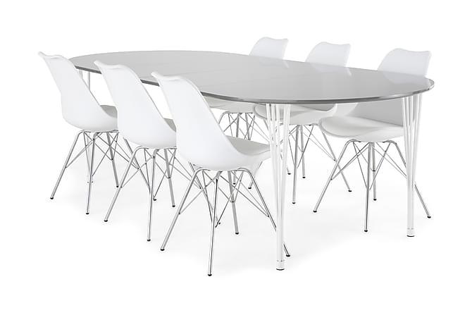 Ruokailuryhmä Sterling Jatkettava 160 cm Harmaa/Valk/Kromi - 6  Scale tuolia - Huonekalut - Ruokailuryhmät - Ovaali ruokailuryhmä