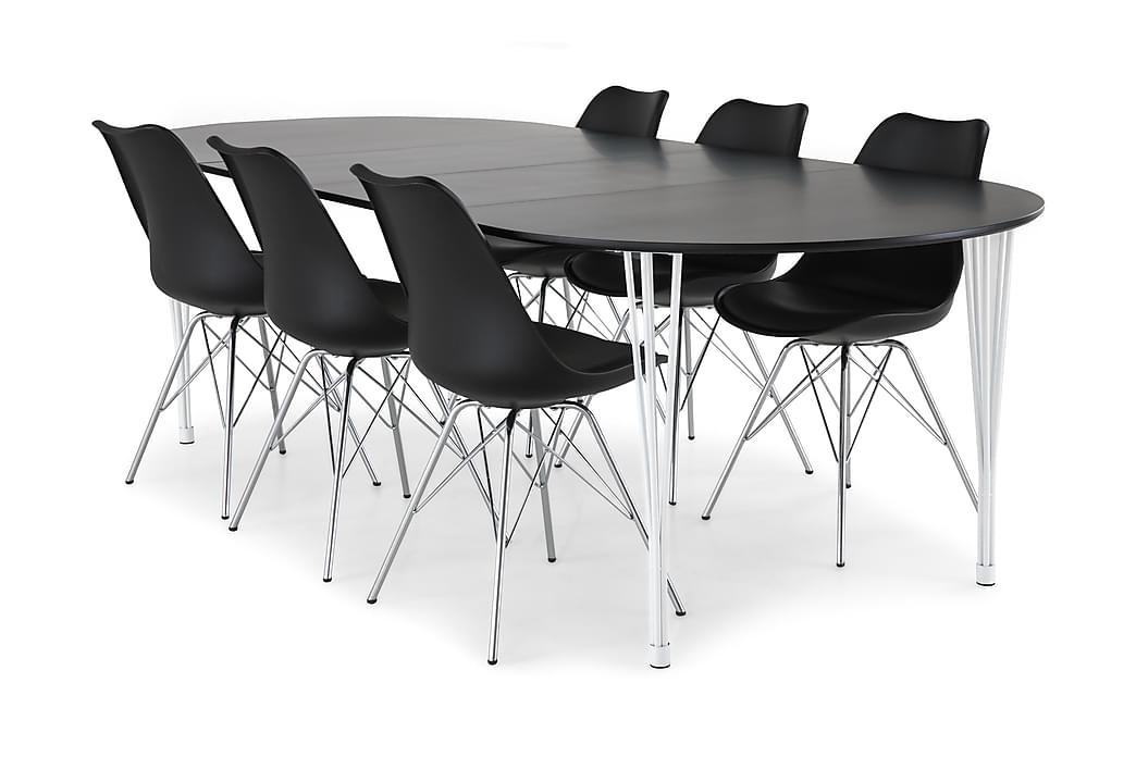 Ruokailuryhmä Sterling Jatkettava 160 cm Musta/Valk/Kromi - 6  Scale tuolia - Huonekalut - Ruokailuryhmät - Ovaali ruokailuryhmä