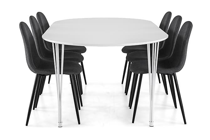 Ruokailuryhmä Sterling Jatkettava 160 cm Valk/Harmaa/Musta - 6  Naira tuolia - Huonekalut - Ruokailuryhmät - Ovaali ruokailuryhmä