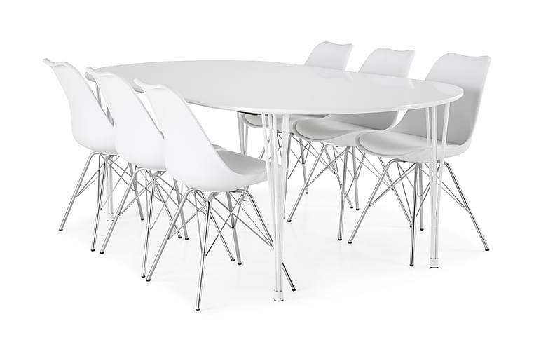 Ruokailuryhmä Sterling Jatkettava 160 cm Valkoinen/Kromi - 6  Scale tuolia - Huonekalut - Ruokailuryhmät - Ovaali ruokailuryhmä