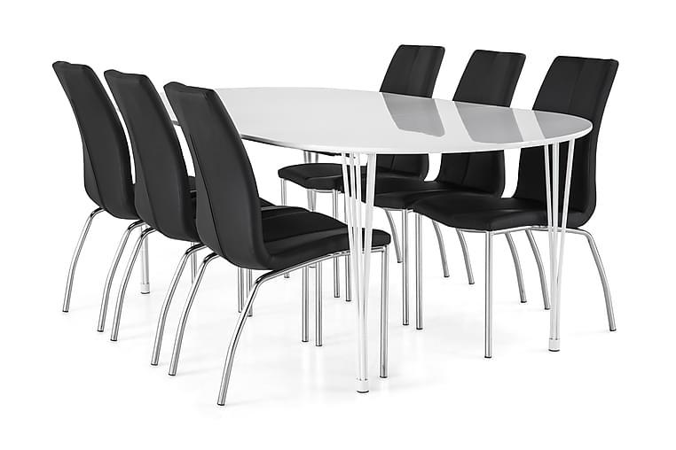 Ruokailuryhmä Sterling Jatkettava 160 cm Valkoinen/Musta - 6  Dion tuolia - Huonekalut - Ruokailuryhmät - Ovaali ruokailuryhmä