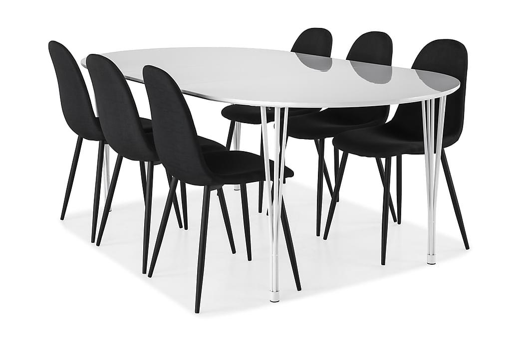 Ruokailuryhmä Sterling Jatkettava 160 cm Valkoinen/Musta - 6  Naira tuolia - Huonekalut - Ruokailuryhmät - Ovaali ruokailuryhmä