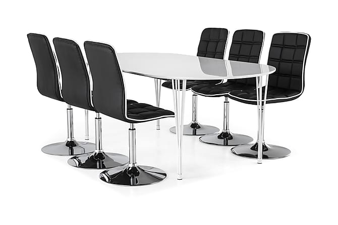 Ruokailuryhmä Sterling Jatkettava 160 cm Valkoinen/Musta - 6  Shaw tuolia - Huonekalut - Ruokailuryhmät - Ovaali ruokailuryhmä
