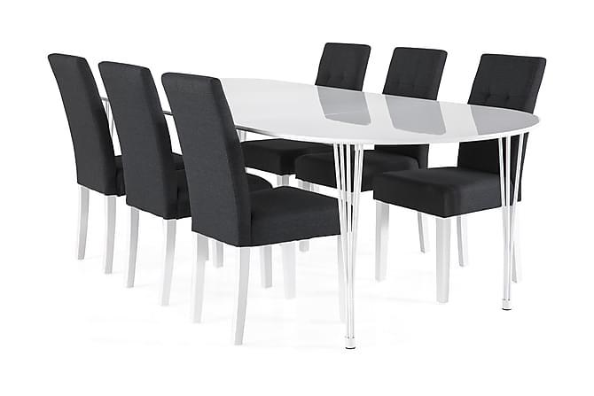 Ruokailuryhmä Sterling Jatkettava 160 cm Valkoinen/T.harmaa - 6  Leo tuolia - Huonekalut - Ruokailuryhmät - Ovaali ruokailuryhmä