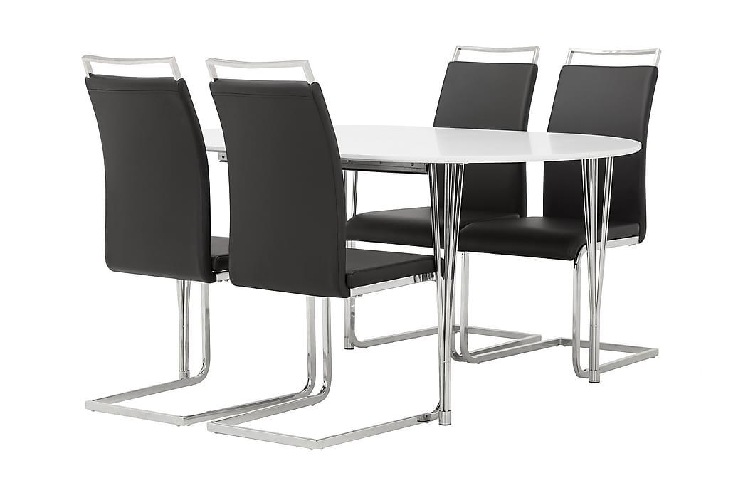 Ruokailuryhmä Sterling Ovaali 4 Robledo tuolilla - Valkoinen/Musta - Huonekalut - Ruokailuryhmät - Ovaali ruokailuryhmä