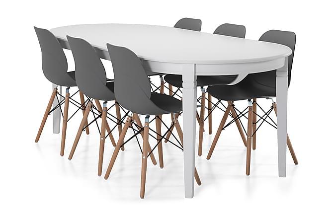 Ruokapöytä Lowisa 200 cm Ovaali - Valkoinen/Beige/Musta - Huonekalut - Ruokailuryhmät - Ovaali ruokailuryhmä