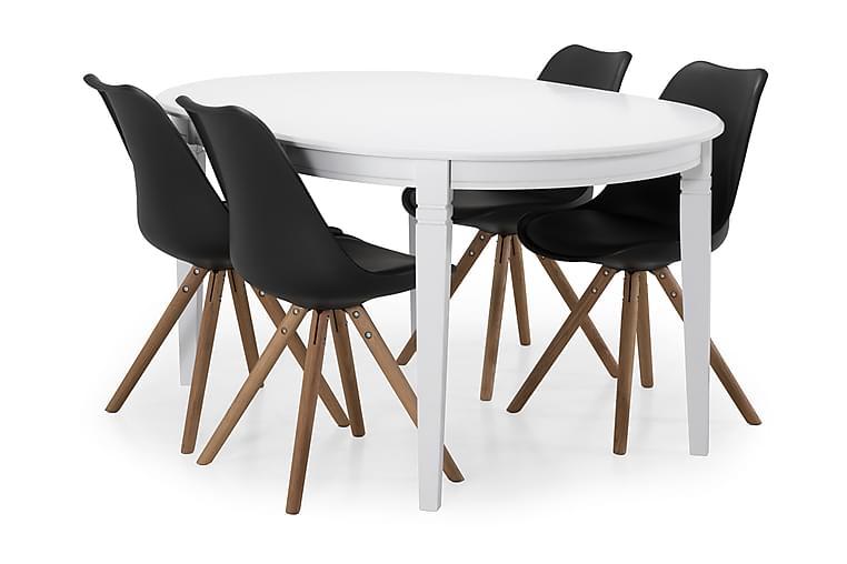 Ruokapöytä Lowisa 4 kpl Anton tuolia - Valkoinen/Musta/Puu - Huonekalut - Ruokailuryhmät - Ovaali ruokailuryhmä