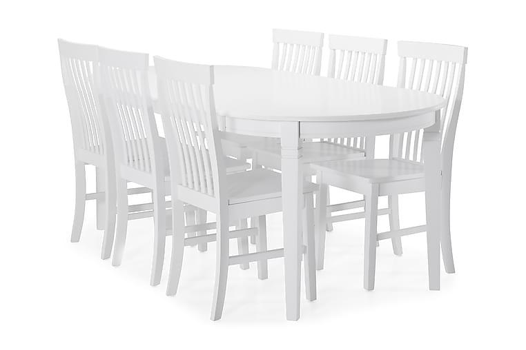 Ruokapöytä Lowisa 4 kpl Milica tuolia - Valkoinen - Huonekalut - Ruokailuryhmät - Ovaali ruokailuryhmä