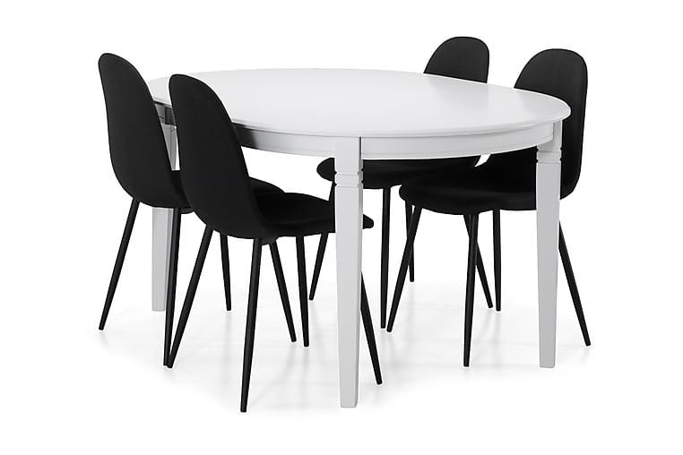 Ruokapöytä Lowisa 4 kpl Naira tuolia - Valkoinen/Musta - Huonekalut - Ruokailuryhmät - Ovaali ruokailuryhmä