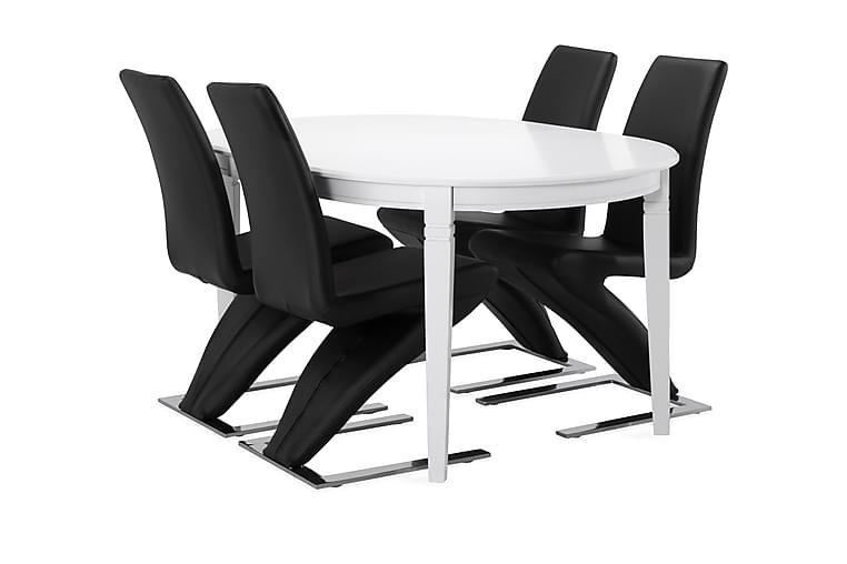 Ruokapöytä Lowisa 4 kpl Ophelia tuolia - Musta/kromi - Huonekalut - Ruokailuryhmät - Ovaali ruokailuryhmä