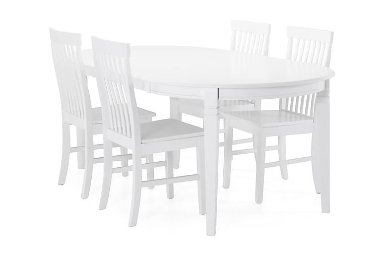Ruokapöytä Lowisa + 4 Milica tuolia - Valkoinen - Huonekalut - Ruokailuryhmät - Ovaali ruokailuryhmä