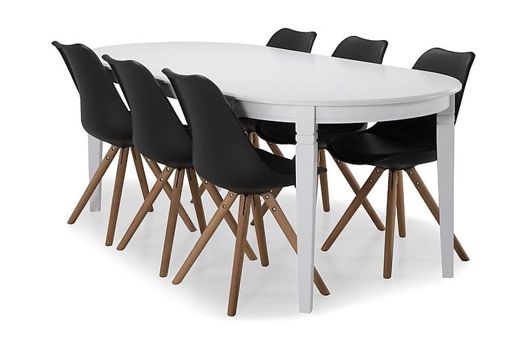 Ruokapöytä Lowisa 6 kpl Anton tuolia - Valkoinen/Musta/Puu - Huonekalut - Ruokailuryhmät - Ovaali ruokailuryhmä