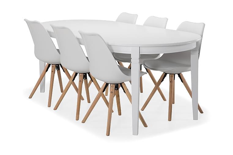 Ruokapöytä Lowisa 6 kpl Anton tuolia - Valkoinen/Tammi - Huonekalut - Ruokailuryhmät - Ovaali ruokailuryhmä