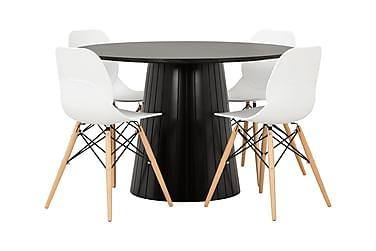 AVIO Pöytä 120 Musta Tammi/Musta +4 RANA tuolia Valkoinen/Pu