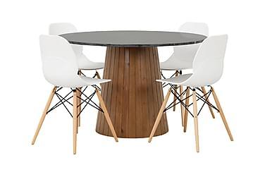 AVIO Pöytä 120 Musta/Pähkinä +4 RANA tuolia Valkoinen/Puu
