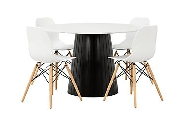 AVIO Pöytä 120 Valkoinen/Musta +4 RANA tuolia Valkoinen/Puu