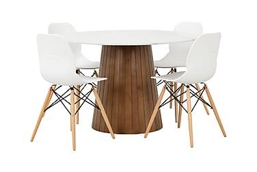 AVIO Pöytä 120 Valkoinen/Pähkinä +4 RANA tuolia Valkoinen/Pu