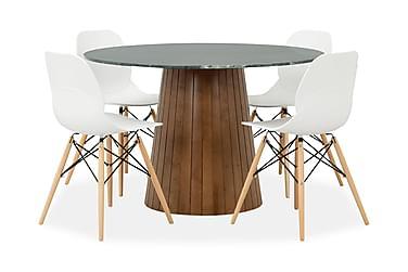 AVIO Pöytä 120 Vihreä/Pähkinä +4 RANA tuolia Valkoinen/Puu