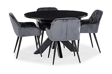 Redex Ruokailuryhmä Pyöreä 120 cm 4 Khloe tuolia Sametti