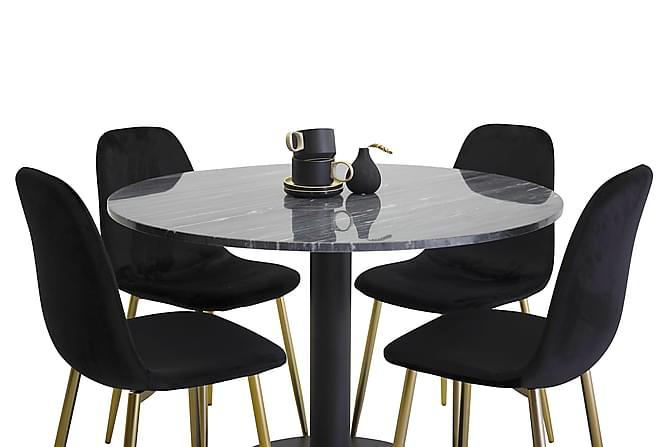 Ruokailuryhmä Admira Pyöreä 4 Pontus tuolilla - Musta/Messinki - Huonekalut - Ruokailuryhmät - Pyöreä ruokailuryhmä