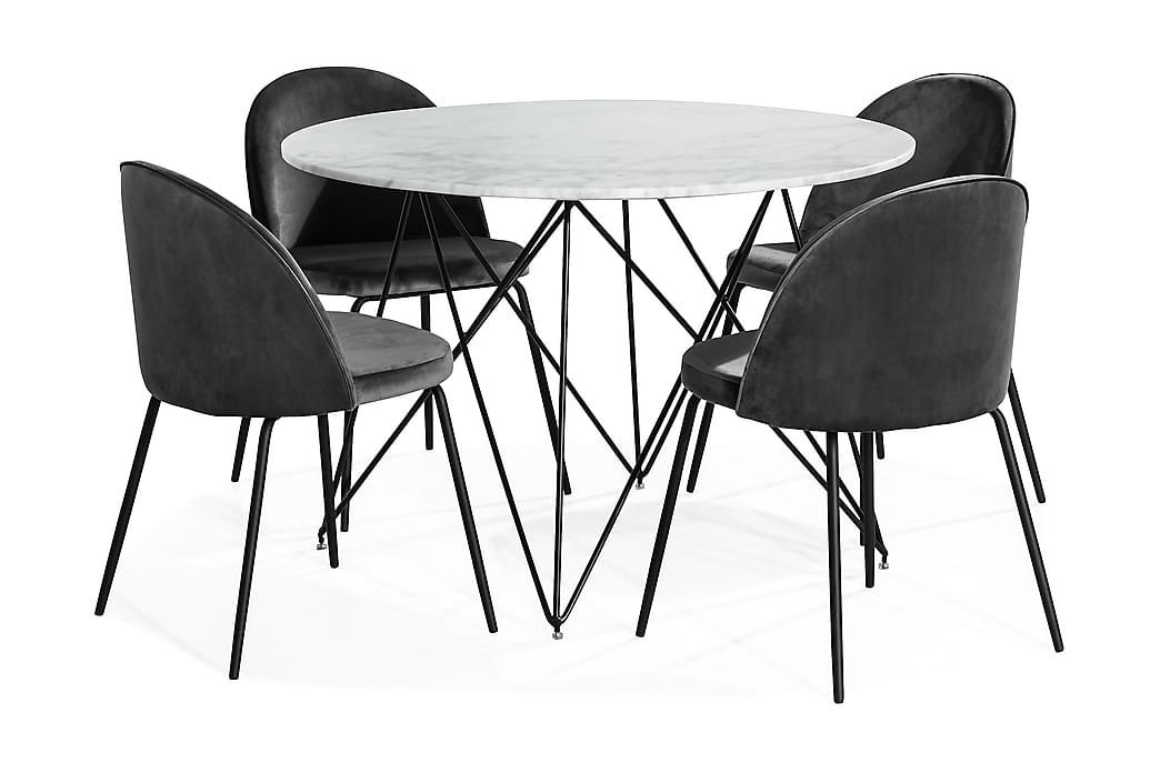 Ruokailuryhmä Aten 110 cm Pyöreä Marmori + 4 Gerardo tuolia - Valkoinen/Harmaa/Musta - Huonekalut - Ruokailuryhmät - Pyöreä ruokailuryhmä